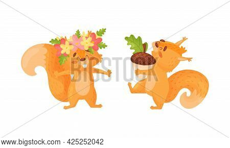 Fluffy Squirrel Character Wearing Floral Wreath And Carrying Acorn Vector Set