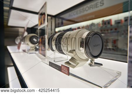 SINGAPORE - CIRCA JANUARY, 2020: lens on display at Sony Store in Singapore.