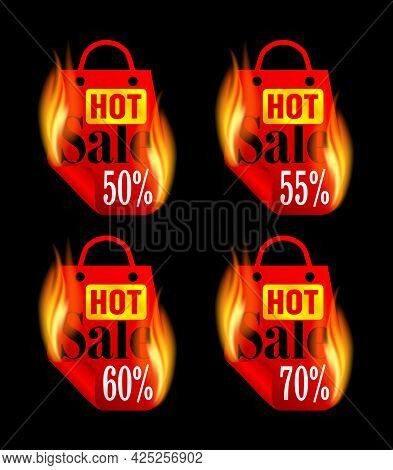 Hot Sale Stickers Set With Red Burning Package. Sale Stickers 50%, 55%, 60%, 70% Off. Vector Illustr