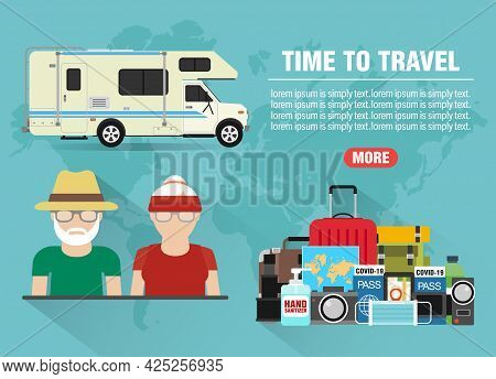 Time To Travel Old People Concept Design Flat Banner With Camper, Trailer. Travel Icon. Safe Journey