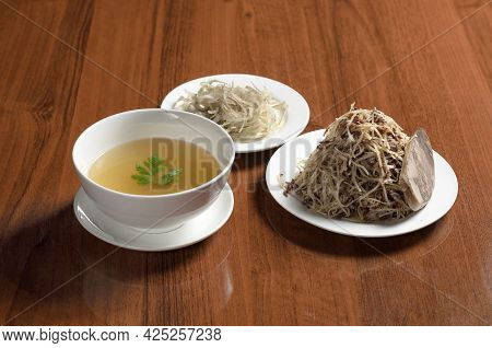 Asian Cuisine Uzbek Food Naryn, Sliced Boiled Dough Noodles With Finely Chopped Meat On A Plate With