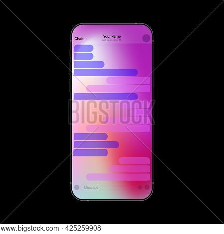 Gradient Colorful Messenger Interface On Smartphone. Mobile Texting App Realistic Ui. Vector Illustr