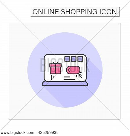 Online Store Color Icon.retail Shop. Laptop With Digital Shop Website Interface. Shopping Online, We
