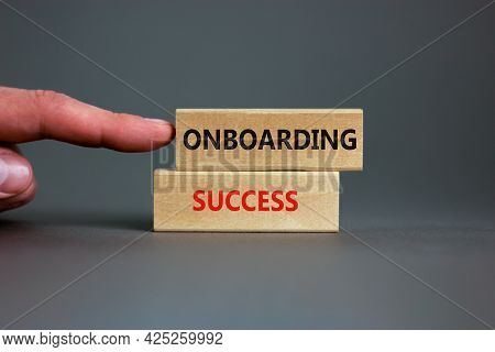 Onboarding Success Symbol. Wooden Blocks With Words Onboarding Success On Beautiful Grey Background.