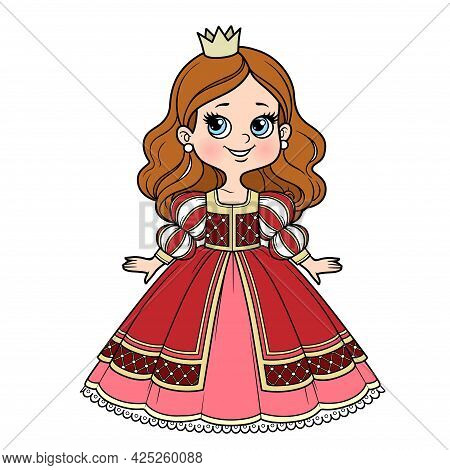 Cute Cartoon Princess Girl In Ball Gown With Lush Skirt And Little Crown Color Variation For Colorin