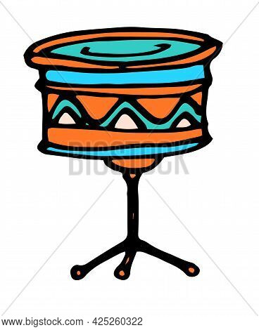 Vector Drum On A Tripod. Isolated Elements Of The Drum Of A Musical Instrument In The Style Of A Doo