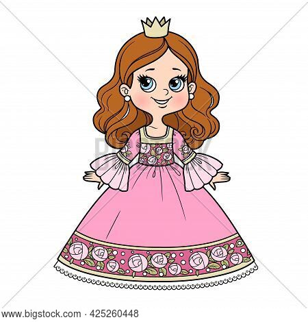 Cute Cartoon Princess Girl In Ball Gown With Roses Ornament And Little Crown Color Variation For Col