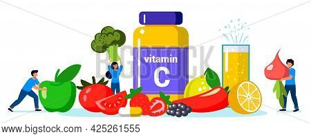 Vitamin C Vector Illustration Healthy Eating And Diet Different Food Rich Of Vitamin C Dietetic Orga