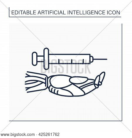 Ai In Healthcare Line Icon. Digital Technology In Medicine. Hand Keeps Injections Tool. Medical Data