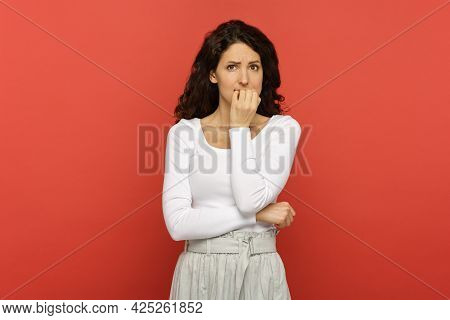 Stressed And Worried Young Woman Nervous Biting Nails Get In Trouble, Problem Situation Pensive Thin