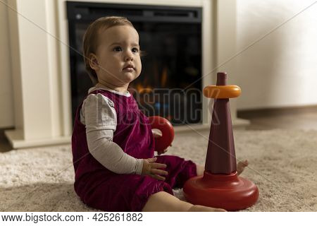 Childhood, Development, Skills, Motility Games - Little Authentic Child Baby Toddler Girl Puts Rings