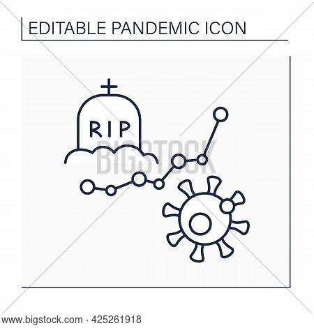 Fatality Rate Line Icon. Deaths From Global Covid19 Virus. Pandemic Concept. Isolated Vector Illustr