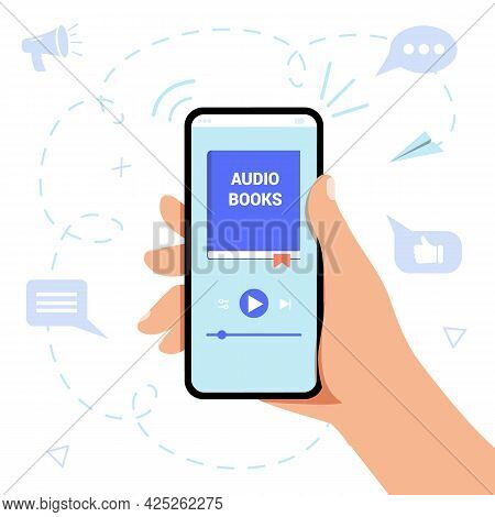 Audiobook Service Web Page Concept Hand Holds Smartphone Distance Education E-learning Podcast Webin