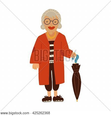 Smiling Old Lady Dressed In Elegant Clothing Holding An Umbrella. Fashionable Elder Woman. Female Ca