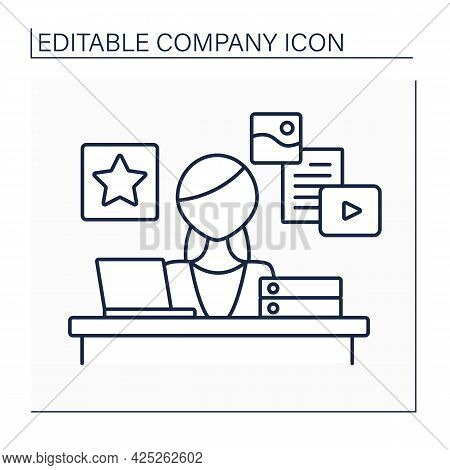 Marketing Department Line Icon. Promoting Business And Driving Sales Of Products Or Services.researc