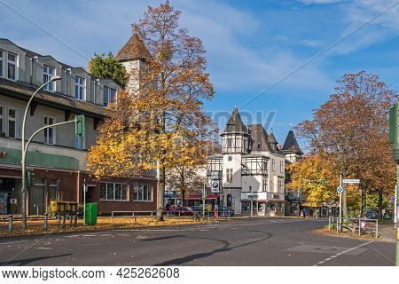 Berlin, Germany - October 25, 2020: The Street Drakestrasse With The Residential Building,  Listed C
