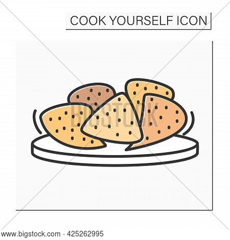 Crackers Color Icon.vegan Gluten-free Crackers Homemade Healthy Snacks. Isolated Vector Illustration