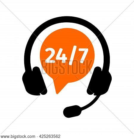Helpline Symbol With Headphones And Round The Clock Numbers Isolated On White Background. Costumer S