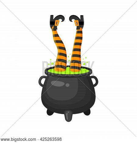 Witch Legs Upside Down In Cauldron With Green Bubbling Potion. Halloween Design Element Isolated On