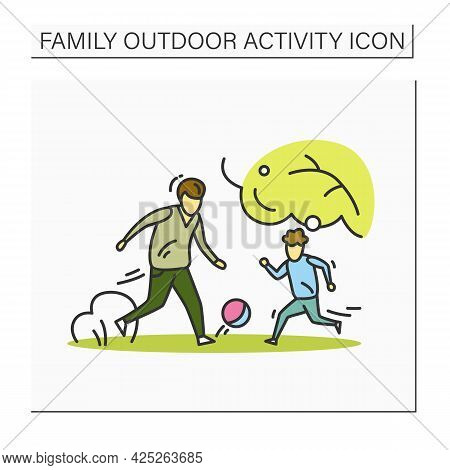 Family Soccer Color Icon. Father Playing Football Against Son. Outdoor Family Activity Concept. Pare