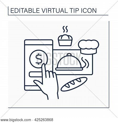 Donations Line Icon. Online Contributions For Bakery. Digital Money For Delicious And Fresh Pastries