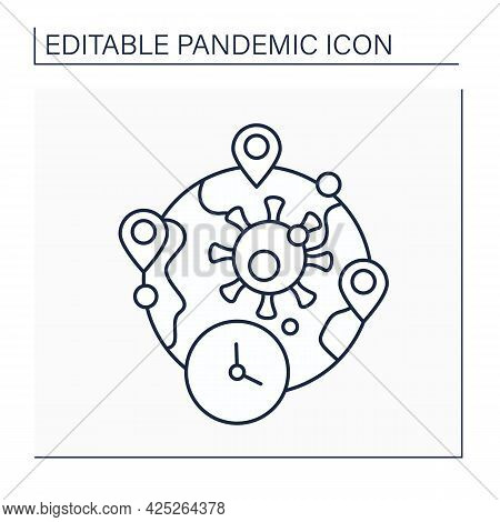 Cluster Line Icon. Unusually Large Of Covid19 Diseases Within Particular Geographical Location.pande