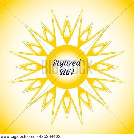 Sun Stylized Graphic Sign. Beautiful Vector Design Of Yellow Sun. Bright Summer Background With Sun