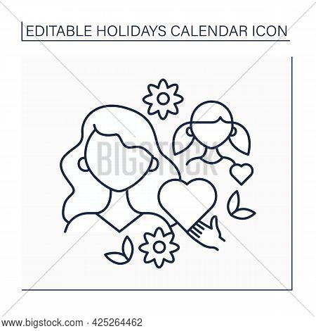 Mothers Day Line Icon. Holiday In Mother Honor. Show Love And Attention To Mother. Gifts And Postcar