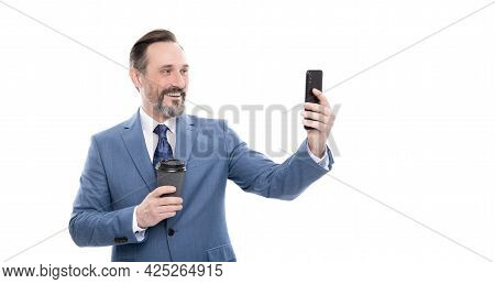 Vlogger With Cellphone Drink Coffee. Making Video Blog On Smartphone. Blogging On Phone.
