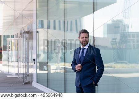 Mature Bearded Man Businessman In Businesslike Formal Suit Outside The Office, Business