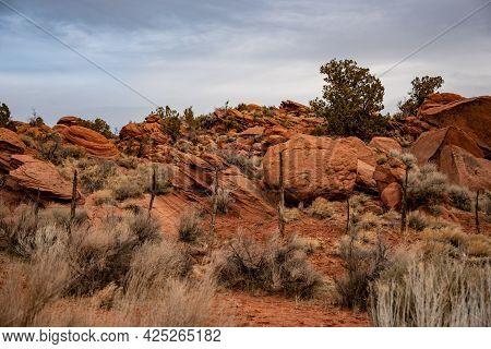 Old Fence And Orange Sand Stones In Southern Utah Heading Toward Buckskin Gulch