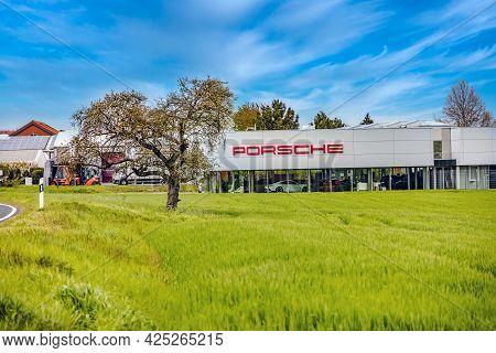 Giessen, Germany 2021-05-08: Porsche Zentrum Giessen-wettenberg Porsche Is A German Automobile Manuf