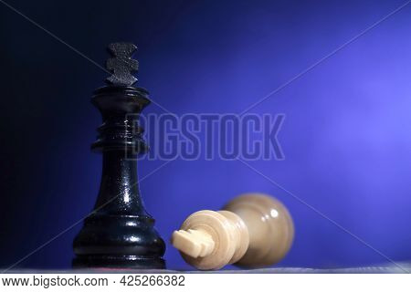 Chess Game, Close Up Image With Selective Focus, Competition In Business Strategy Concept, King Defe