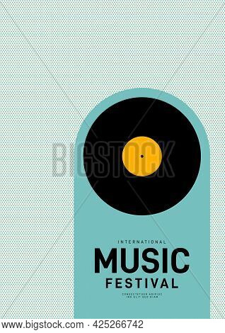 Music Poster Design Template Background With Vinyl Record And Halftone Pattern. Design Element Templ