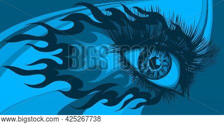 Woman Eye With Fire And Flames Vector Illustration