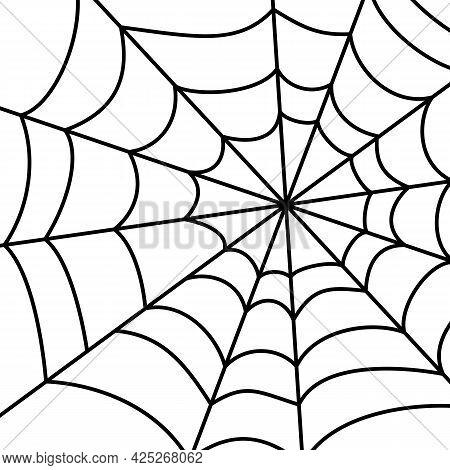 Spider Web Big Black Linear On White Background, Design Element, Decoration, Text Overlay, Greeting