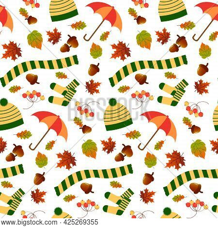 Pattern With Hat, Scarf, Umbrella And Socks, Autumn Leaves. Autumn Illustration With Attributes For