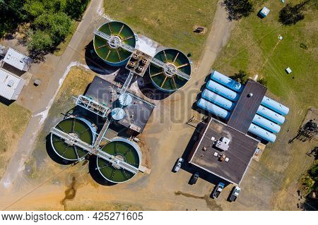 Aerial View Of The Solid Clarifier Tank Type Sludge Recirculation In Water Treatment Plant In Near B