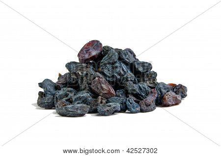 Blue medical raisins on a white background.