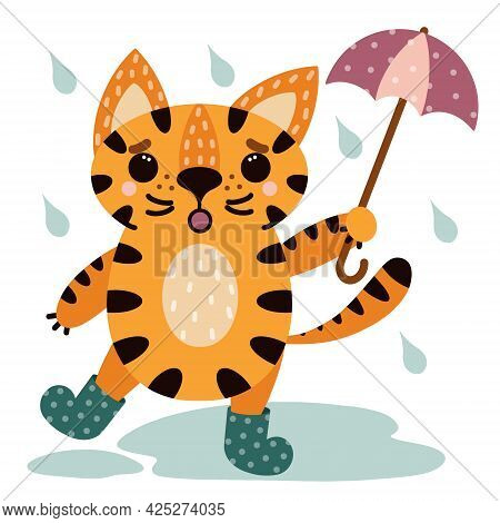 Cute Cartoon Striped Tiger. Animal In Rubber Boots With An Umbrella. Cat In The Rain. Vector Icon Is