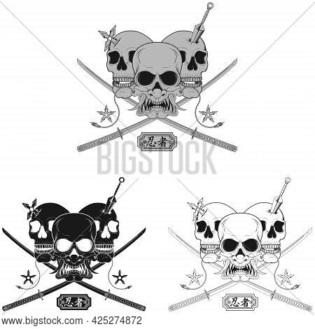 Vector Design Of Ninja Skull With Japanese Mask Hannya, Kunai, Shuriken And Two Katana Swords, Grays