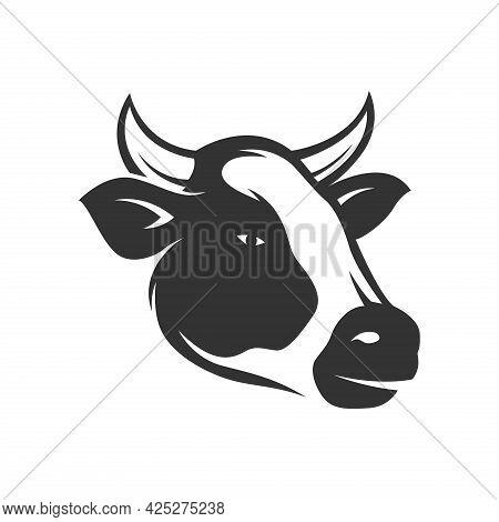 Cow Head Vector. Cow Logo. Cow Illustration. Animal Farm. Cow Icon Simple And Modern For App, Web An