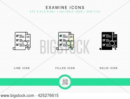 Examine Icons Set Vector Illustration With Solid Icon Line Style. Customer Satisfaction Check Concep