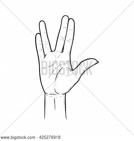 Vulcan Greeting And Salute Gesture. Live Long And Prosper Hand Sign. Black Vector Illustration Isola