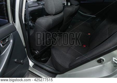 Novosibirsk, Russia - June 29, 2021: Toyota Corolla, Comfort Car Inside. Clean Car Interior: Black B
