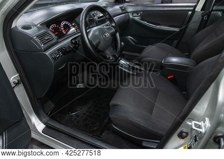 Novosibirsk, Russia - June 29, 2021: Toyota Corolla, Car Interior - Steering Wheel, Shift Lever And