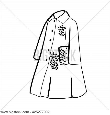 Contour Illustration With A Coat. With Animal Print. Autumn Outerwear.