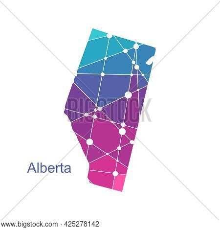 Map Of Alberta. Concept Of Travel And Geography Of Canada.