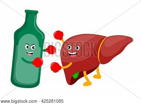 Human Liver Cartoon Character Fighing With Alcohol Drink. Alcohol Related Liver Disease. Vector Illu