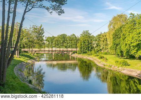 View On Gwda River In Pila, Poland.
